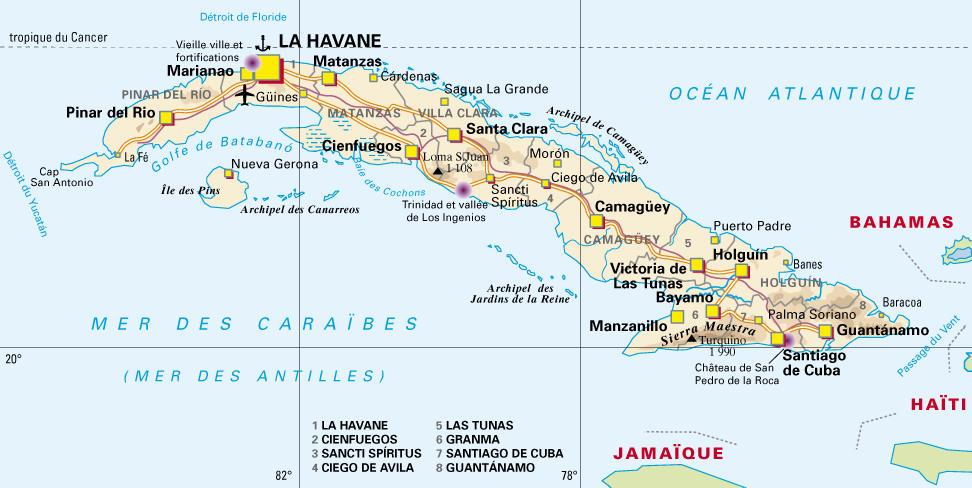 Carte Cuba Detaillee.Cuba Carte Cartes Du Monde Pays