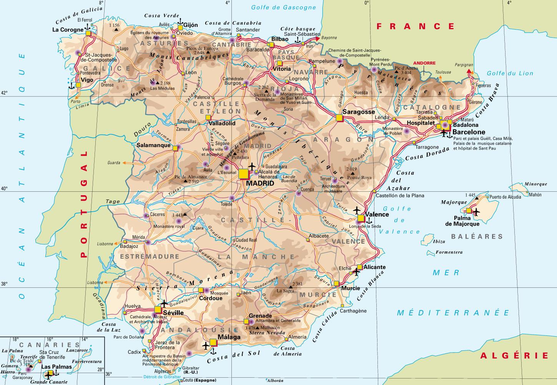 Espagne carte · Cartes du monde, pays…