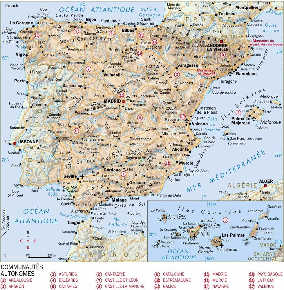carte espagne nord atlantique